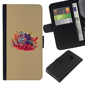 // PHONE CASE GIFT // Moda Estuche Funda de Cuero Billetera Tarjeta de crédito dinero bolsa Cubierta de proteccion Caso HTC One M9 / Abstract Cartoon Splatter /