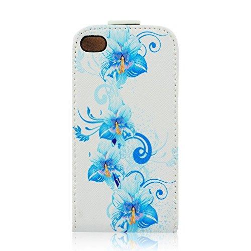 handy-point Hibiskus Motiv Flip Case Klapphülle Klapptasche Tasche Hülle für iPhone SE 5 5S, mit Blume Weiß - Blau