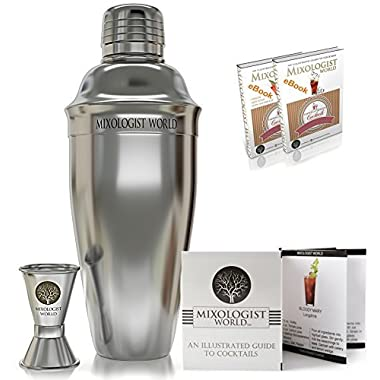 Mixologist World Cocktail Shaker Set - Professional Bundle Kit with Double Stainless Steel Jigger - Bar Spoon & Recipes Booklet - Martini Maker 24 oz Bartender Tool