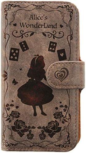 焼き込みアンティーク調スマホケース 手帳型 アリス【チョコブラウン|Huawei nova lite2】