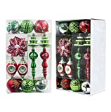 Valery Madelyn 50ct Classic Traditional Shatterproof Christmas Ball Ornaments Decoration Red Green White with String Pre-Tied, Themed with Tree Skirt(Not Included)