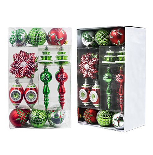 Valery Madelyn 50ct Classic Traditional Shatterproof Christmas Ball Ornaments Decoration Red Green White,Themed with Tree Skirt(Not Included)