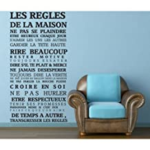New Arrival House rules of French version quote waterproof wall stickers home decor , vinyl art decals sticker home decoration