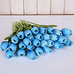 11 Pcs Real Touch Tulip Artificial Flowers- Artificial Fake Silk Flowers- Bridal Wedding Decorations- Wedding Decoration Spring Simulation Flowers- Vintage Wedding Decorations Flowers 75