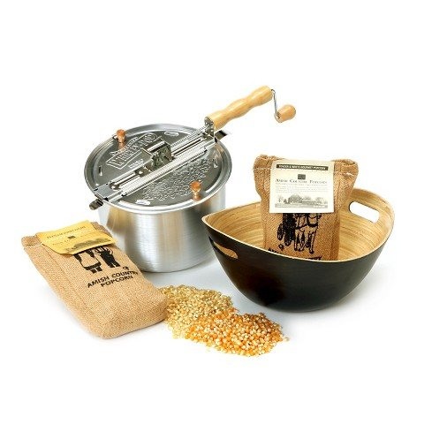 Whirley-PopTM Original Stovetop Popcorn Popper with Handcrafted Bamboo Bowl and Amish County Burlap Bag Popcorn - Silver/Charcoal/Yellow/White