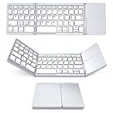 Foldable Keyboard with Touch Pad, IKOS Tri- Folding Portable Keyboard for iPhone iPad Samsung Smartphone Tablet, Wireless BT Keyboard, Designed Compatible for iOS Android Windows System Device (White)