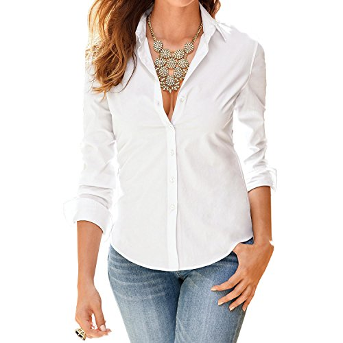 Mia Wallace Costume (SUNNOW Women Fasional Slim Shirt V Neck Long Sleeve Button-down Blouse (M, White))