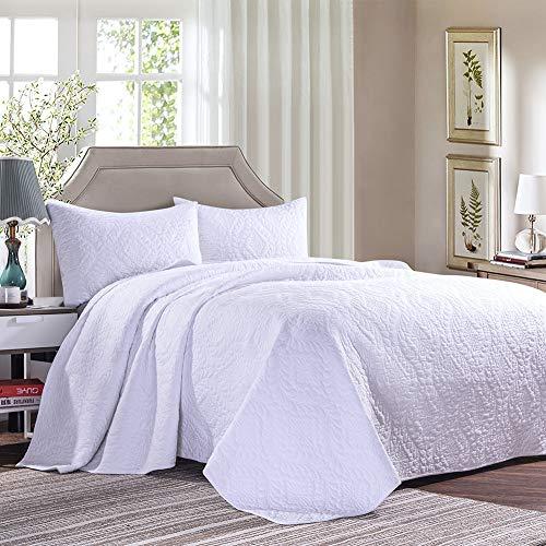 Cotton World Li 3 Piece Bedspread Set King Premium Oversized Quilt Set King Thermal Bed Cover Elegant Luxury Coverlet Comfortable & Lightweight - Wrinkle & Fade Resistant (White-K, ()