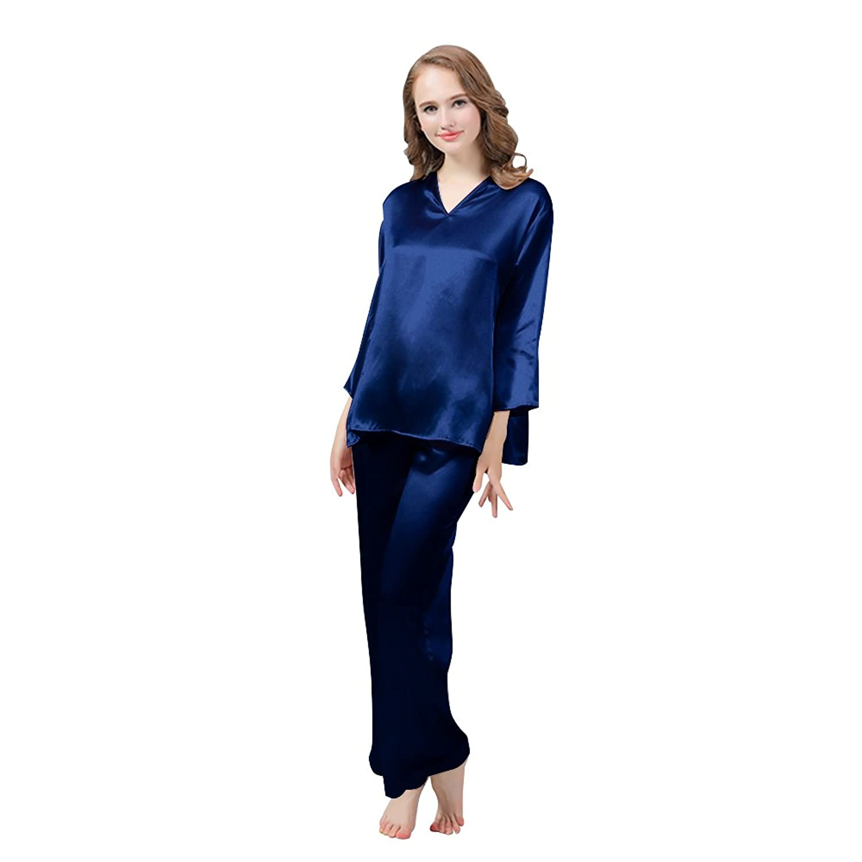 LULUSILK Damen 22 Momme Seide Langarm Pyjama Set Locker Nachtwäsche Schlafanzug