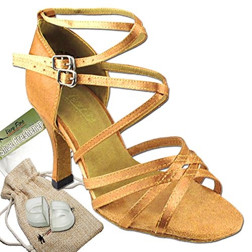Women's Ballroom Dance Shoes Tango Wedding Salsa Dance Shoes Brown Satin 5008EB Comfortable - Very Fine 2.5