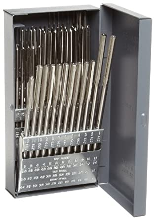 Alvord Polk 127-S-13 High-Speed Steel Chucking Reamer Set, Straight Flute, Uncoated Finish, 60-Piece, #1 - #60 Wire Sizes
