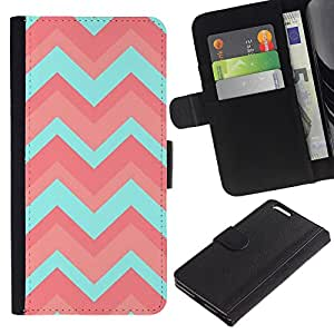 iKiki Tech / Cartera Funda Carcasa - Teal Pink Pattern Zig Zig - Apple iPhone 6 Plus 5.5