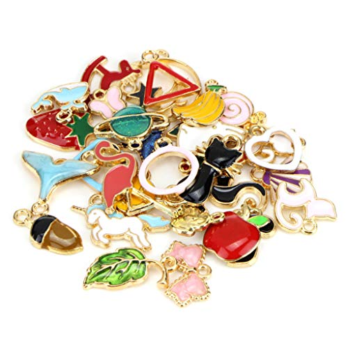 YDZN 30pcs Mixed Jewelry Pendant DIY Bracelet Necklace Charms Enamel Fashion Findings