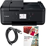 Canon PIXMA TR7520 Wireless Home Office All-in-One Printer with General High Speed 6-foot USB Printer Cable & Corel Paint Shop Pro X9 (Black)