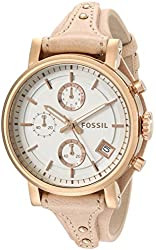 Fossil Women's ES3748 Original Boyfriend Rose Gold-Tone Stainless Steel Watch with Leather Band
