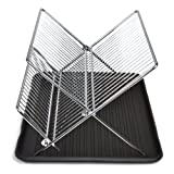 Smart Design 2-Tier Folding Dish Drainer Rack w/Drain Board - Steel Wire Frame - for Dishes, Cups, Plates Organization - Kitchen (14 x 8 Inch) [Chrome]