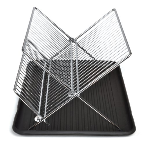 Smart Design 2-Tier Folding Dish Drainer Rack w/Drain Board - Steel Metal Frame - Dishes, Cups, Plates Organization - Kitchen (14 x 8 Inch) [Chrome]