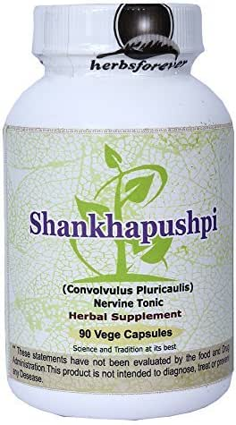 Shankhpushpi (Convolvulus Pluricaulis) (Whole Plant) (Ayurvedic Stress Relief Formulation) (Ayurvedic Brain Tonic) 90 Vege Capsules, 800 Mg Each Extract Ratio 18:1 (Concentrated)