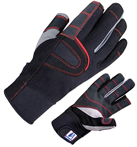 Navis Marine Sailing Gloves for Men Women Rowing Boating Fishing Kayaking All Water Sports Special Palm Perfect UV Protection Short Finger