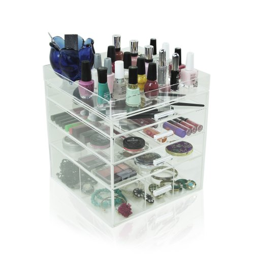 Houseables Acrylic Makeup Organizer, 4 Drawers, 11x11x11.