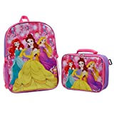 Disney Princess Excellent Designed Girls Backpack with Detachable Insulated Lunch Kit 15 Inch