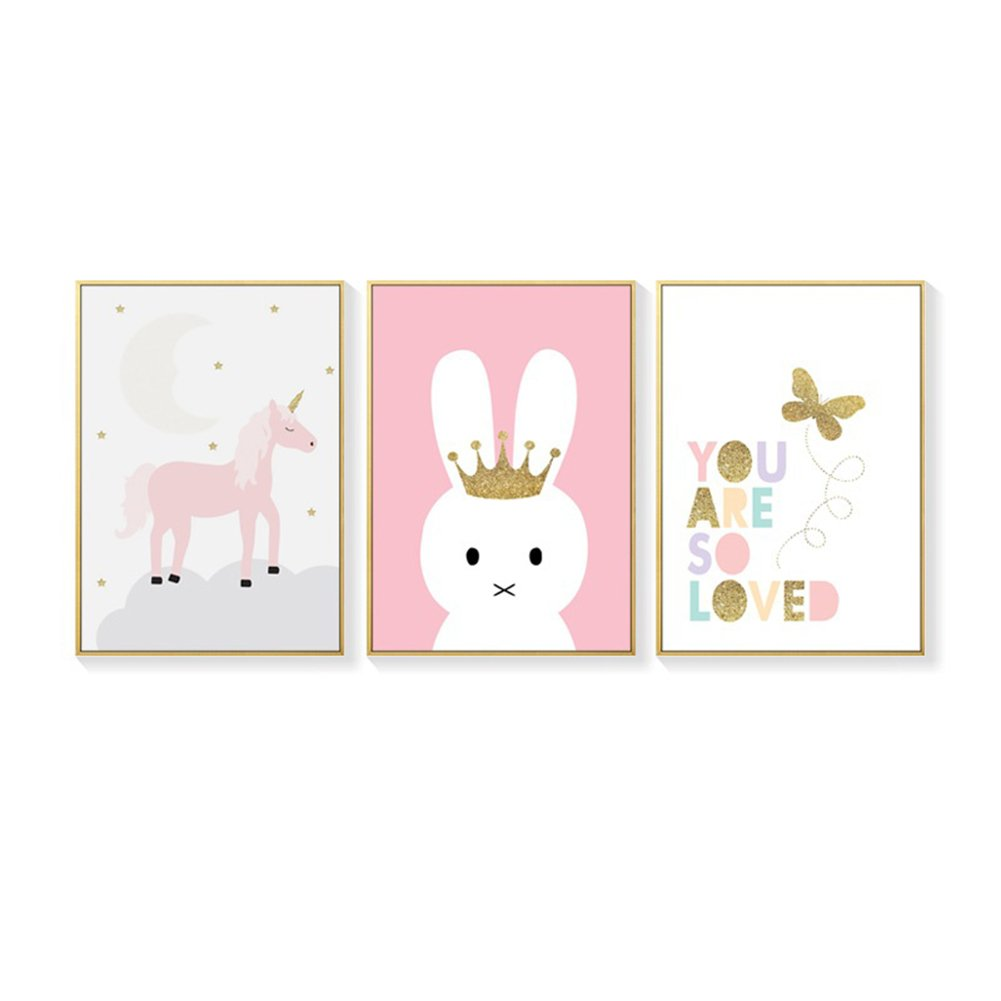 Butterfly, 21*30cm Bluelans/® Cute Animal Paintings Unicorn Rabbit Butterfly Canvas Wall Art Picture Print Kids Room Modern Canvas Wall Art Decor