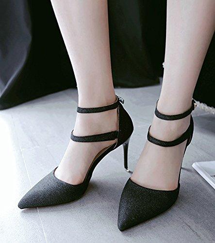 Aisun Women's Elegant Two Straps Buckled Sandals Shoes Black rrg3l