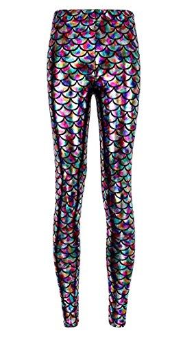 [Alaroo Women Bling Mermaid Print Scale Leggings Pants Rainbow Plus 3XL] (Mermaid Costume)