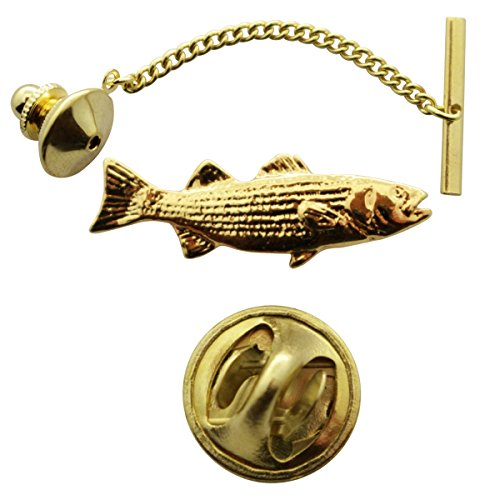 (Striped Bass Tie Tack ~ 24K Gold ~ Tie Tack or Pin ~ Sarah's Treats & Treasures)