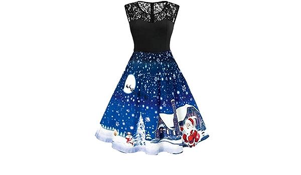 WUAI Women Christmas Dress,Vintage Reindeer Snowflake Santa Claus Printed Sleeveless Cocktail Party A-Line Dresses