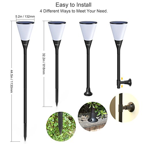 """Ankway Aky11 Solar Lights 4 Installation Ways 96 Flaming Bulb Dancing Torches Waterproof IP65 for Outdoor Garden Pathway Patio Wall Indoor, 11.5 x 7.5 x 2"""", Warm White"""