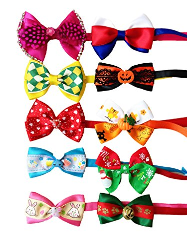 PET SHOW Assorted Holiday Small Dog Neck Bow ties For Festival Party Pet Puppy Cats Neckties Collar Costume Pack of 10