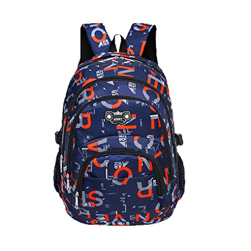 (Outsta Teenage Camouflage Backpack,Fashion Girls Boys School Zipper Backpack Printing Students Bags Classic Basic Casual Daypack Travel (Navy))