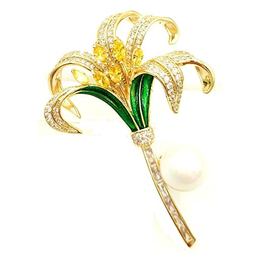 DREAMLANDSALES Vintage Stylize Green Enameled Yellow Orchid Flower Brooch Gold Tone
