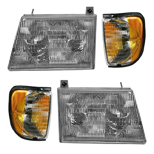 Fleetwood Pace Arrow 1997-2000 RV Motorhome 4 Piece Set Left & Right Replacement Front Headlights & Signal ()