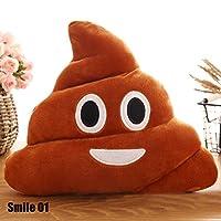 CALISTOUK - Simpatico peluche stile emoji a forma di cacca, cuscino decorativo per letto, divano, auto