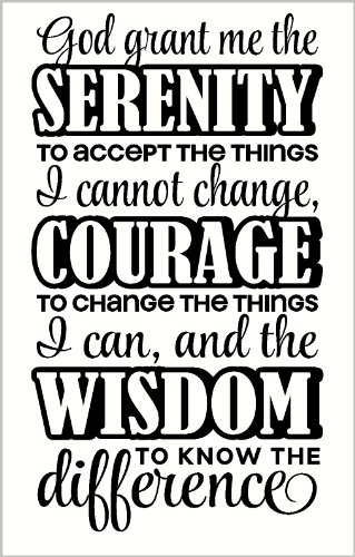 Wall Décor Plus More WDPM2274 Serenity Prayer Verse Wall Vinyl Sticker Decal for Courage and Strength, 13x23-Inch, Black