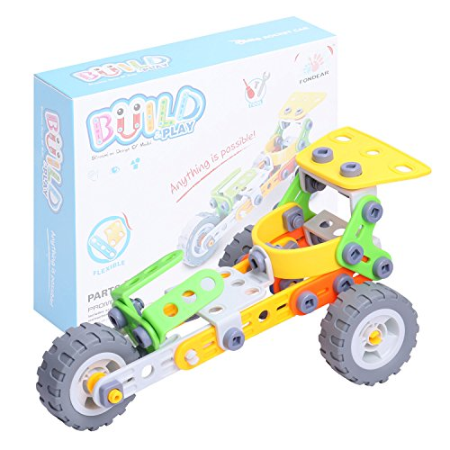 Sled Assembly - Fondear Children's STEM Learning Toy Vehicle Building Brick Set Rocket Sled Building Set Creator Engineering Truck Toy, Driven by Friction Force, Tutorial Toy for Kids(Rocket Sled)