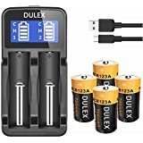 CR123A Rechargeable Batteries for Arlo Cameras, DULEX 4 Pack 3.7V CR123a lithium battery, RCR123a Rechargeable Battery with LCD Display Smart Battery Charger