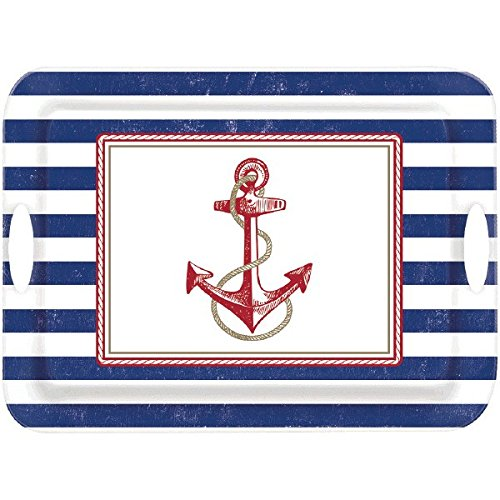 Amscan Anchor's Aweigh Nautical Party Melamine Handle Tray (1 Piece), Multicolor, 14 3/4
