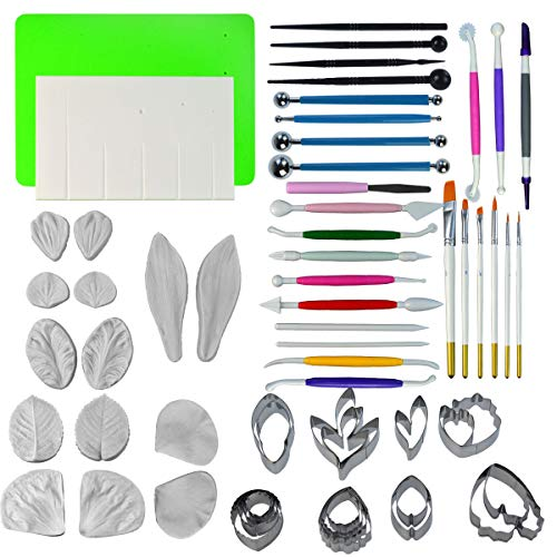 (62pcs Gum Paste Flower and Leaf Tool Kit - Yookat 19pcs Stainless Steel Flower Cutter 14pcs Silicone Molds 1 Foam Pad 1 Veining Board 4 Ball Tools 4 Frilling Sticks 13 Modelling Tools 6 Brushes)