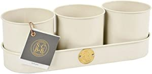 Burgon & Ball Sophie Conran Galvanised Steel Set of 3 Herb Plant Pots in Buttermilk Cream