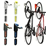 Reliancer 4 Color Foldable Vertical Bike Rack Wall Mounted Bicycle Cycle Storage Rack Single Bike Hook Wall Bike Hanger Holder w/Tire Tray for Garage Shed Retail Applications