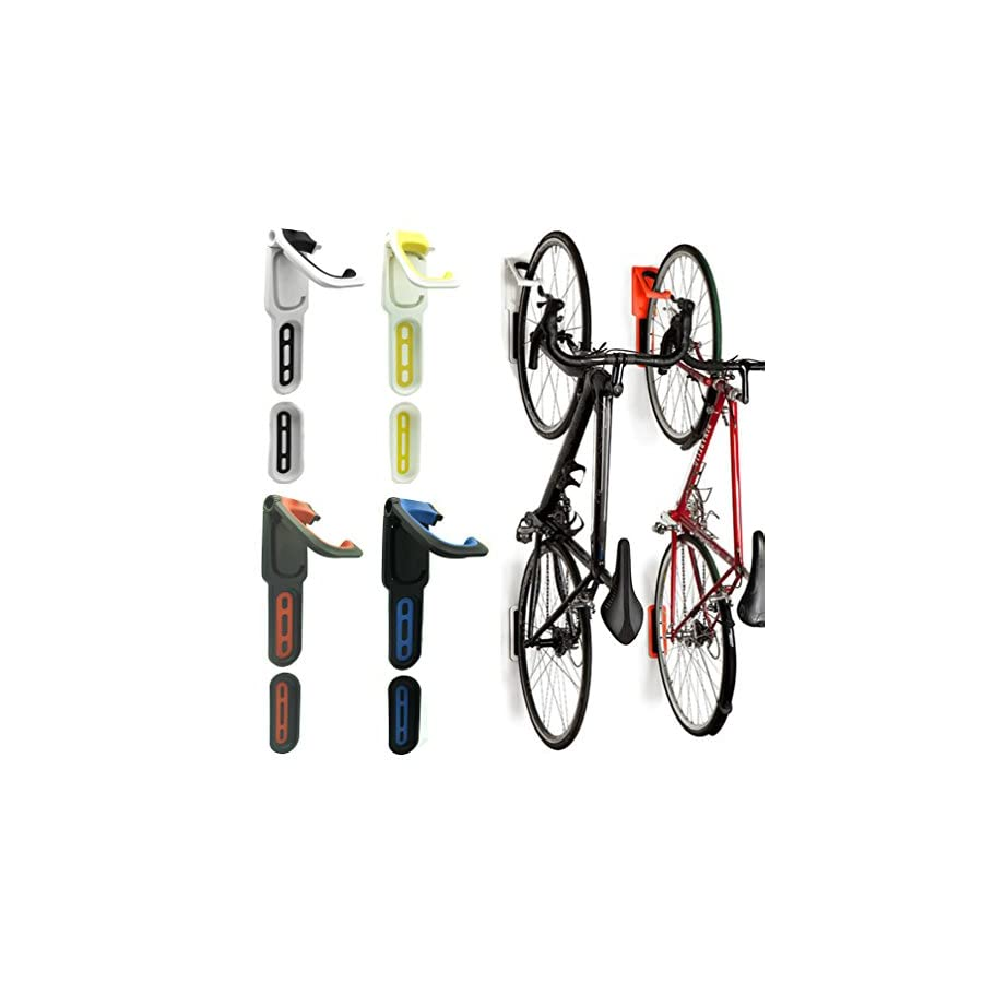 Reliancer 2 Pack Foldable Vertical Bike Rack Wall Mounted Bicycle Cycle Storage Rack Single Bike Hook Wall Bike Hanger Holder w/Tire Tray for Garage Shed Retail Applications 4 Color