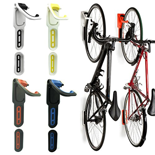 Reliancer 2 Pack Foldable Vertical Bike Rack Wall Mounted Bicycle Cycle Storage Rack Single Bike Hook Wall Bike Hanger Holder w/Tire Tray for Garage Shed Retail Applications Road ()