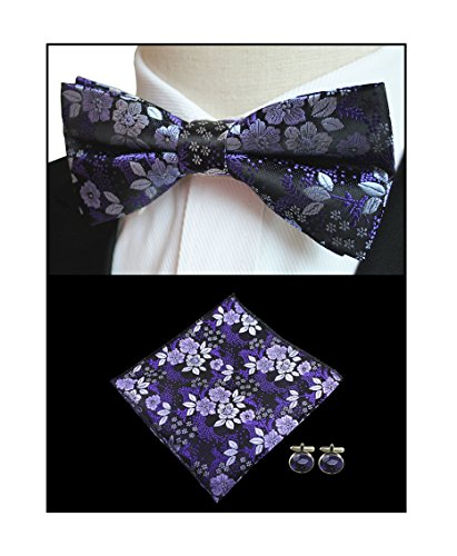 (Boys Men Purple Flroal Bow Ties Regular Soft Formal Dinner Party Dating)