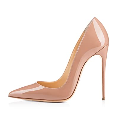 eb464de437fb onlymaker Women s Sexy Pointed Toe High Heel Slip On Stiletto Pumps Large  Size Basic Shoes Nude
