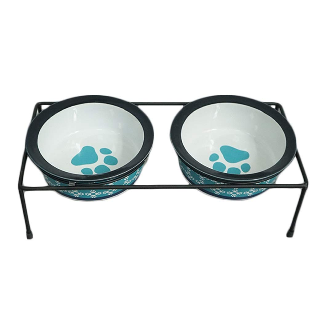 bluee S bluee S JIANXIN Pet Table, Dog Bowl, Cat Bowl, Ceramic Double Bowl, Suitable for Small Dogs and Cats (color   bluee, Size   S)