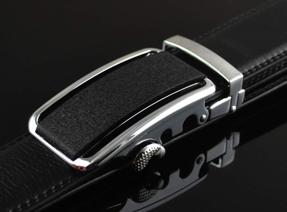 DENGDAI Leather Belt Mens Leather Belt Automatic Buckle Length 110-135cm