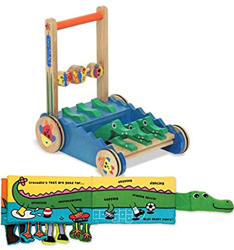 Bundle Includes 2 Items - Melissa & Doug Deluxe Chomp and Clack Alligator Wooden Push Toy and Activity Walker and Melissa & Doug Soft Activity Baby Book - Whose Feet? by Melissa & Doug and Melissa & Doug